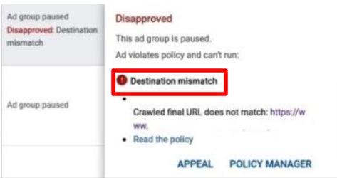 Google ads destination mismatch