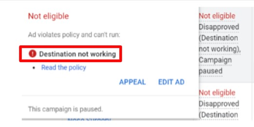 Destination not working ads policy