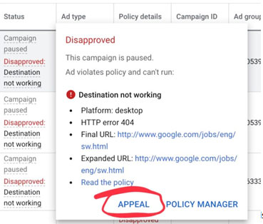 Direct Appeal Policy - Google Ads