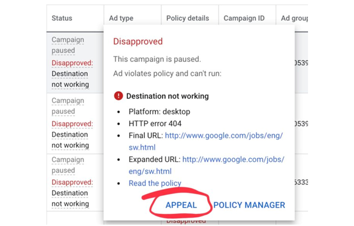 Direct Appeal Policy – Google Ads