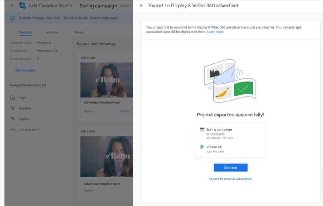 Display & Video 360 advertiser in Ads Creative Studio