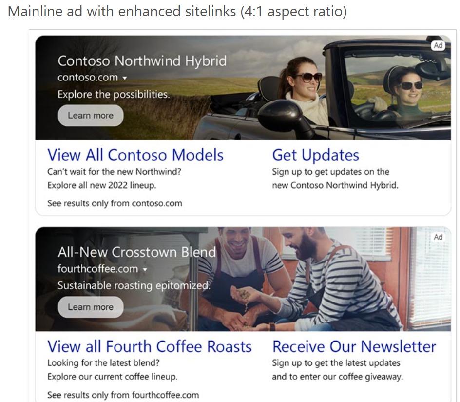 Multimedia Ads on mainline with Enhanced Sitelinks