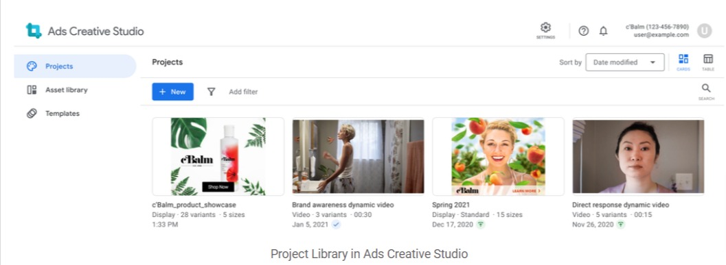 Project Library in Ads Creative Studio