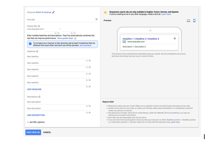 Responsive search ads in Google search ads?