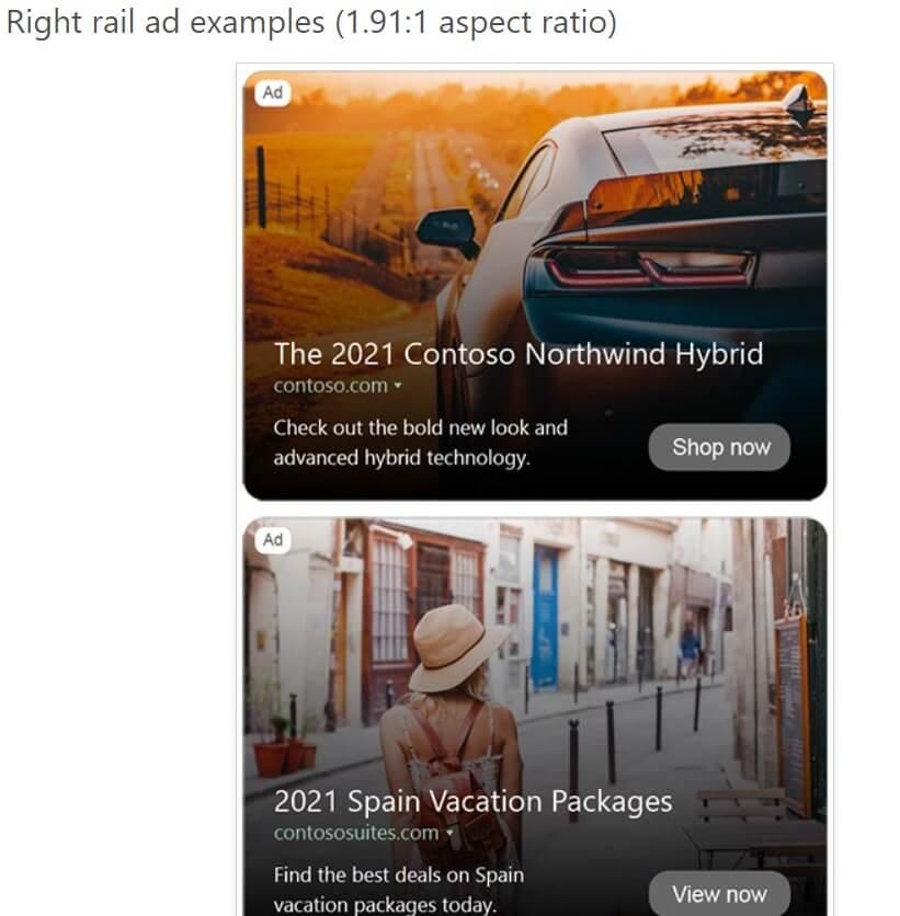 Right rail Multimedia Ad in Microsoft Advertising