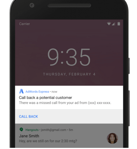 Google Adwords express will notify calls