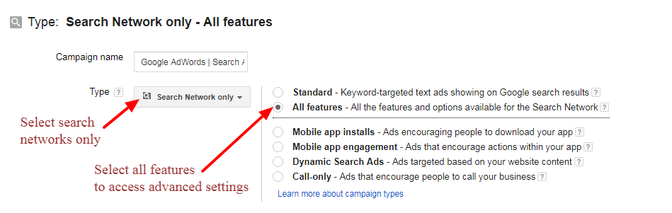 Search Ads Campaign Setup
