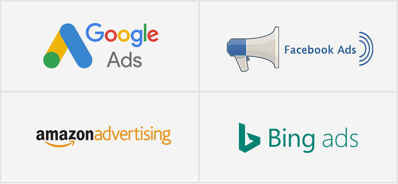 We Work with Google Ads, Facebook Ads, Amazon Ads and Bing Ads