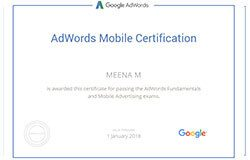 Google AdWords Mobile Certification - Meena