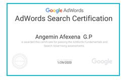 AdWords Search Certification - Angemin Afexena